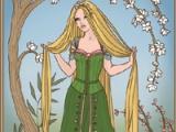Berpakaian Rapunzel dari sebuah dongeng
