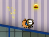 Garfield eats hamburgers