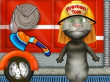 Talking Tom. Firetruck washing