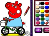 Piggy on bike. Coloring