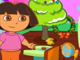 flash игра Dora. Christmas room clean