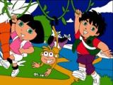 flash игра Dora & Diego. Online coloring page