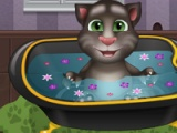 flash game Baby Talking Tom. Bathing