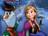 Elsa and Anna building Olaf
