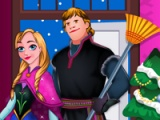 flash игра Anna and Kristoff. Xmas cleaning